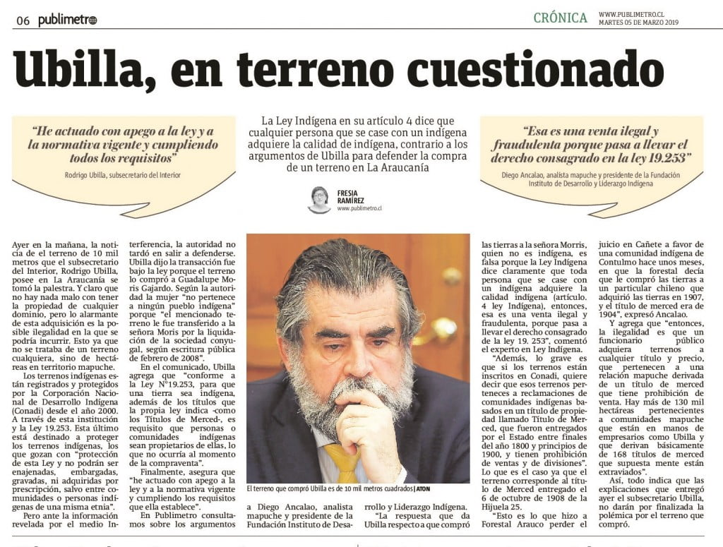 Diego Ancalao en Publimetro 05.03.19