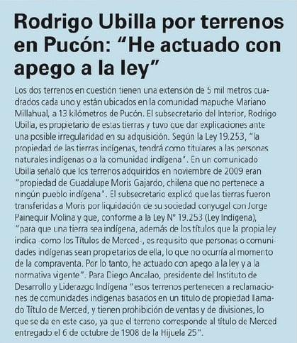 Rodrigo Ubilla por terrenos en Pucón: «He actuado con apego a la ley»
